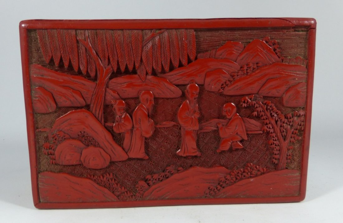 CHINESE ANTIQUE CINNABAR LACQUER LIDDED BOX