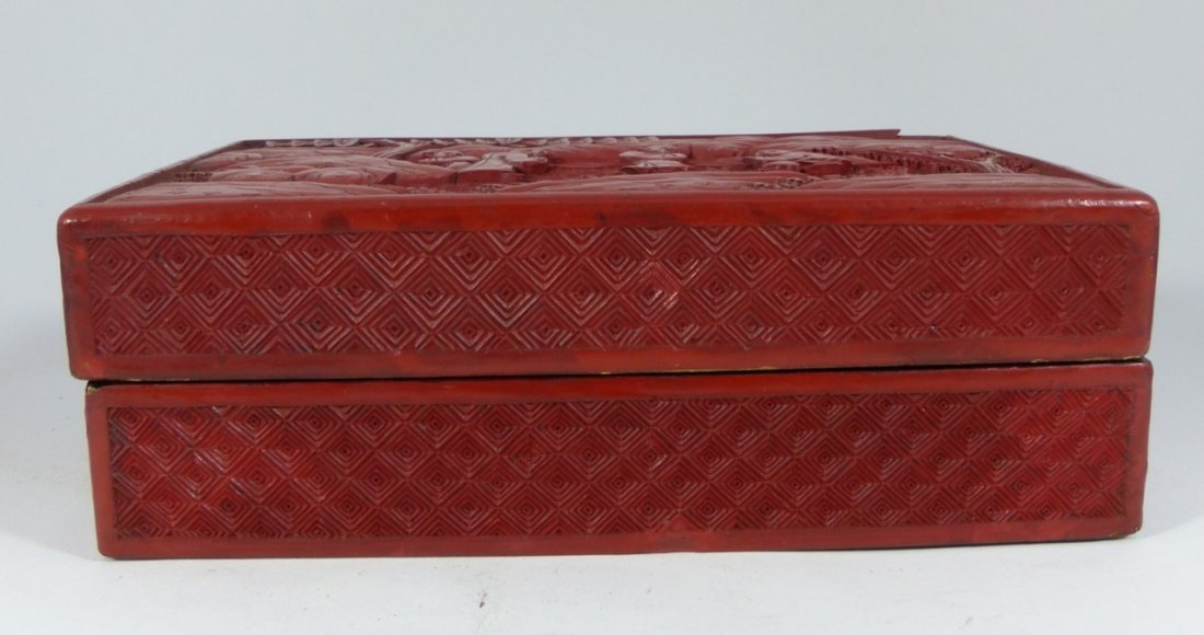 CHINESE ANTIQUE CINNABAR LACQUER LIDDED BOX - 2