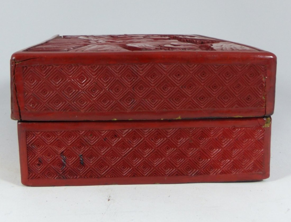 CHINESE ANTIQUE CINNABAR LACQUER LIDDED BOX - 3