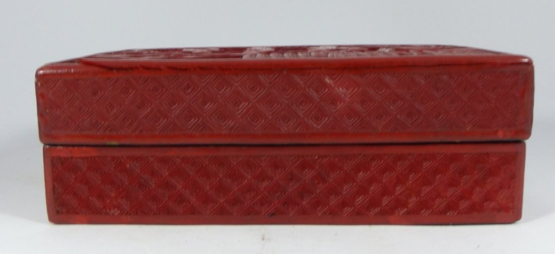 CHINESE ANTIQUE CINNABAR LACQUER LIDDED BOX - 4