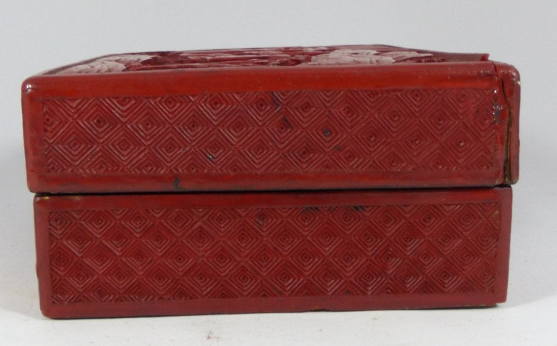 CHINESE ANTIQUE CINNABAR LACQUER LIDDED BOX - 5