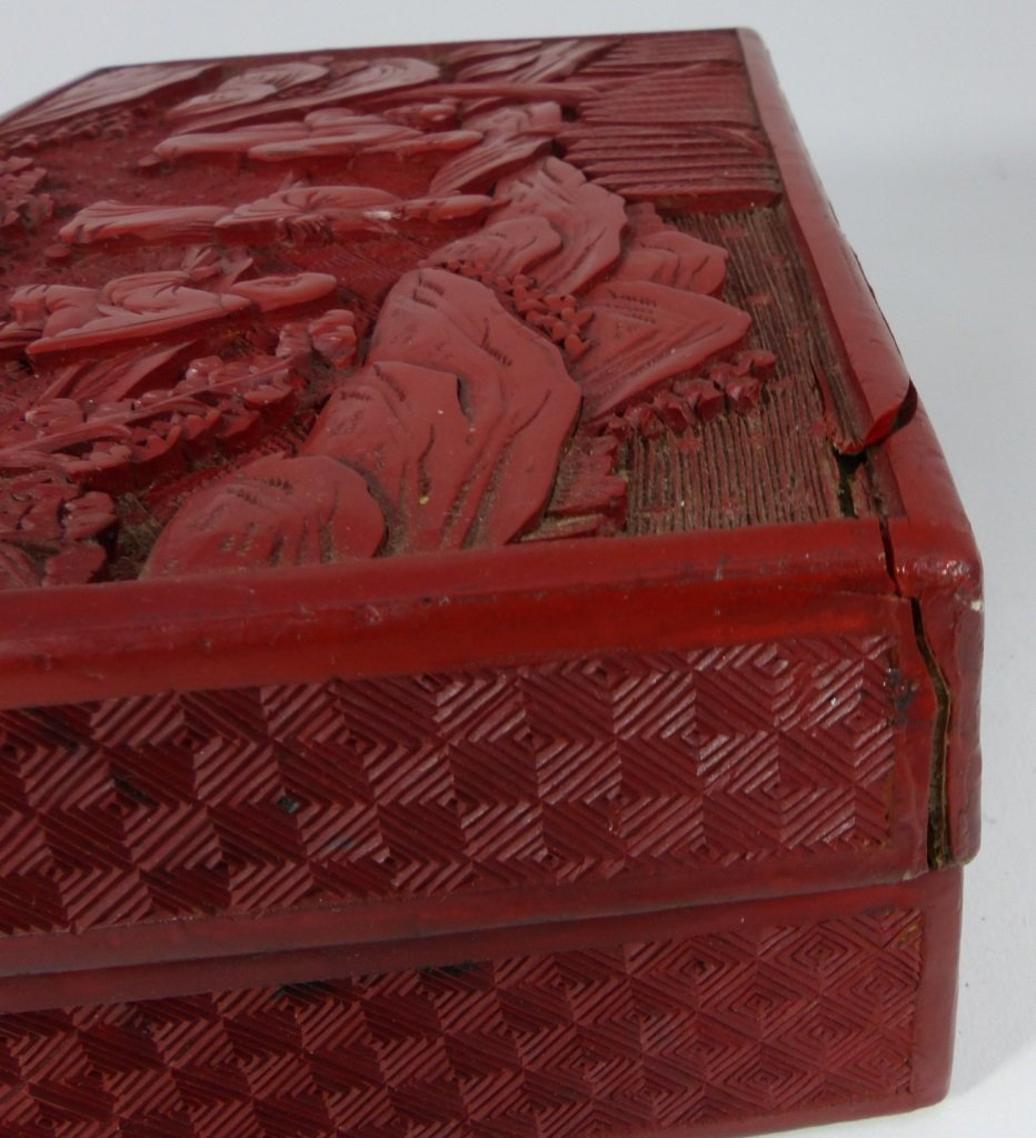 CHINESE ANTIQUE CINNABAR LACQUER LIDDED BOX - 6