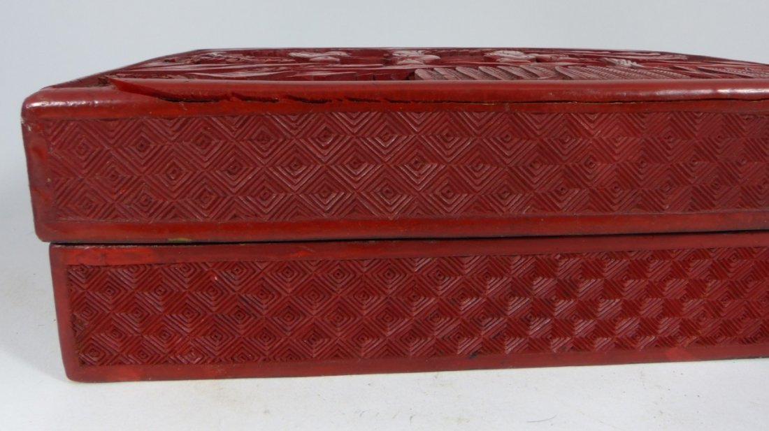 CHINESE ANTIQUE CINNABAR LACQUER LIDDED BOX - 7