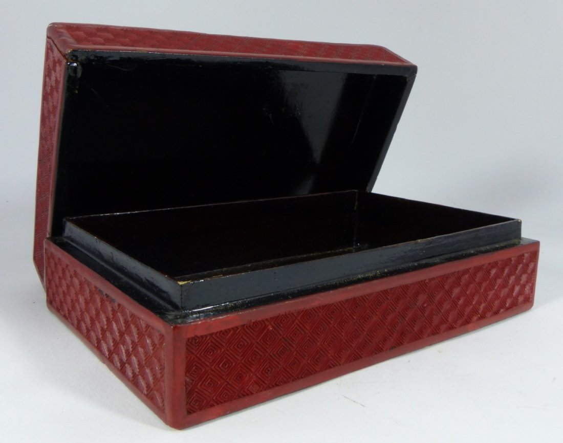 CHINESE ANTIQUE CINNABAR LACQUER LIDDED BOX - 8
