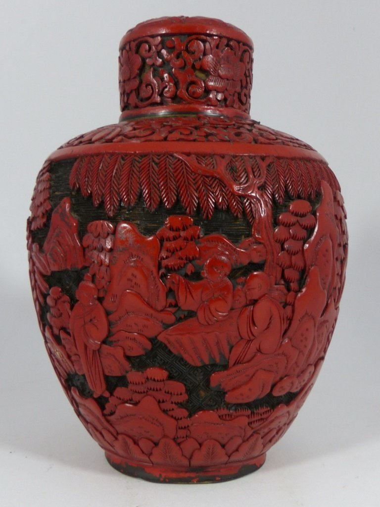 CHINESE CARVED RED CINNABAR LACQUER GINGER JAR