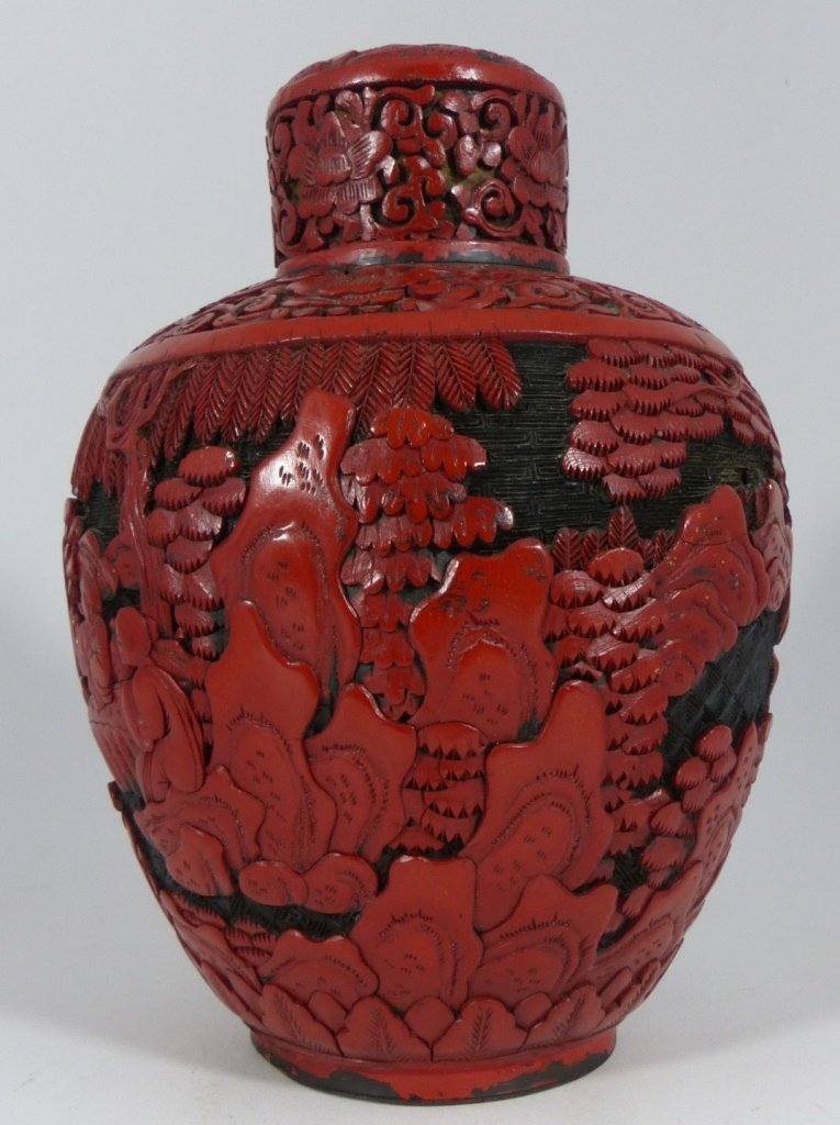 CHINESE CARVED RED CINNABAR LACQUER GINGER JAR - 2