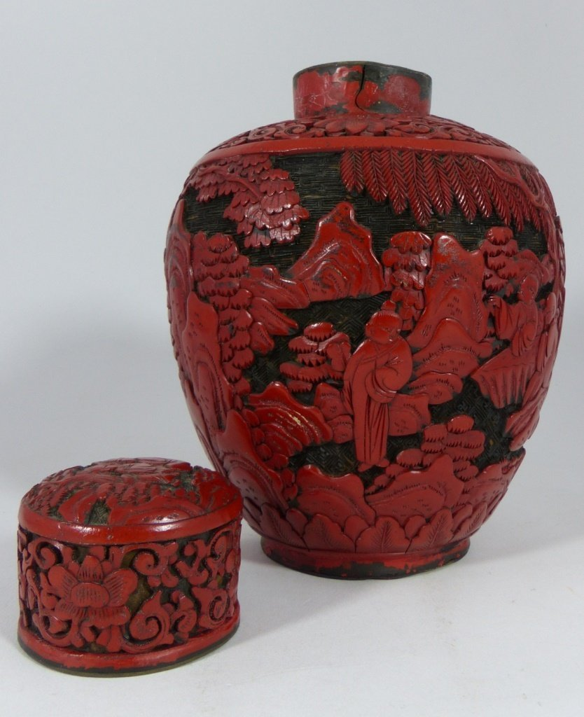 CHINESE CARVED RED CINNABAR LACQUER GINGER JAR - 6