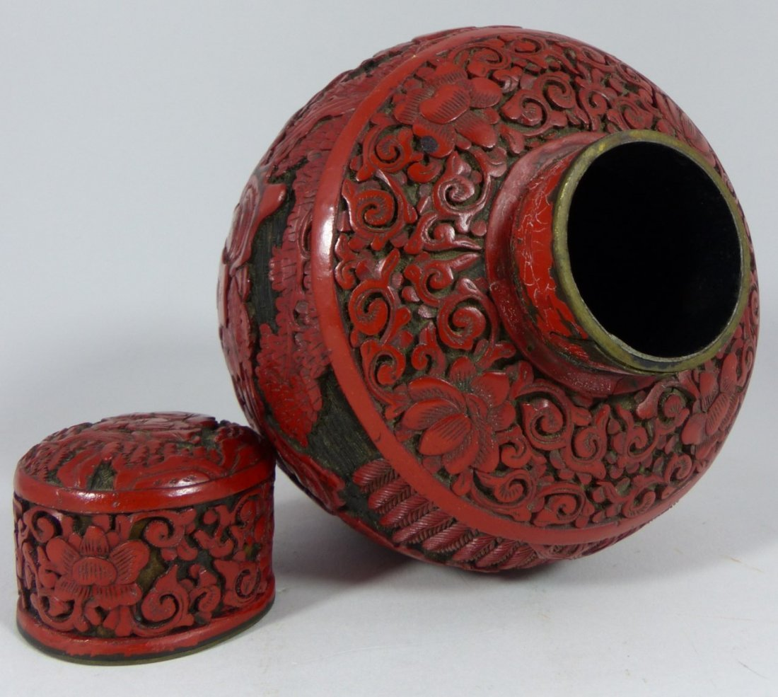 CHINESE CARVED RED CINNABAR LACQUER GINGER JAR - 7