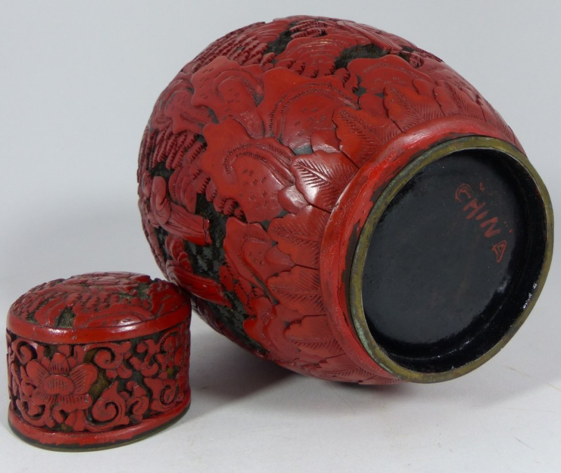 CHINESE CARVED RED CINNABAR LACQUER GINGER JAR - 8