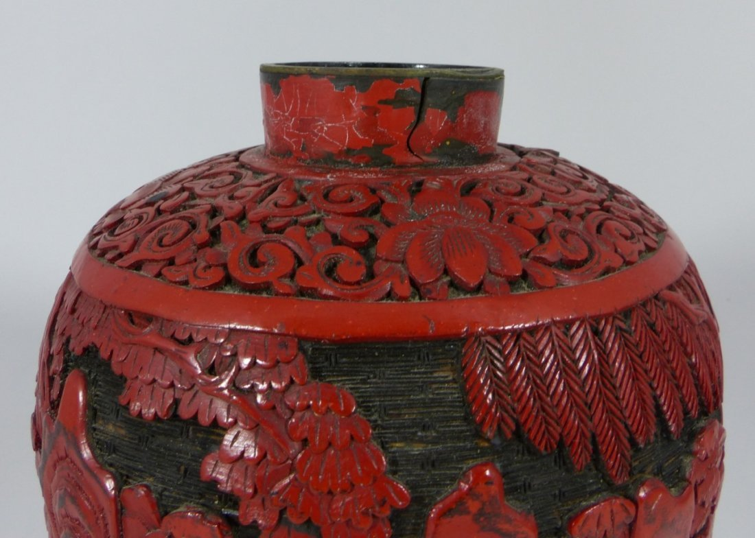 CHINESE CARVED RED CINNABAR LACQUER GINGER JAR - 9