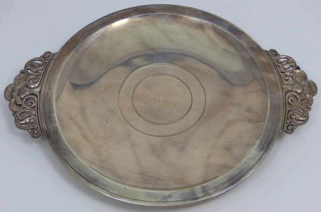 TIFFANY & CO STERLING SILVER ROUND HANDLED TRAY - 2