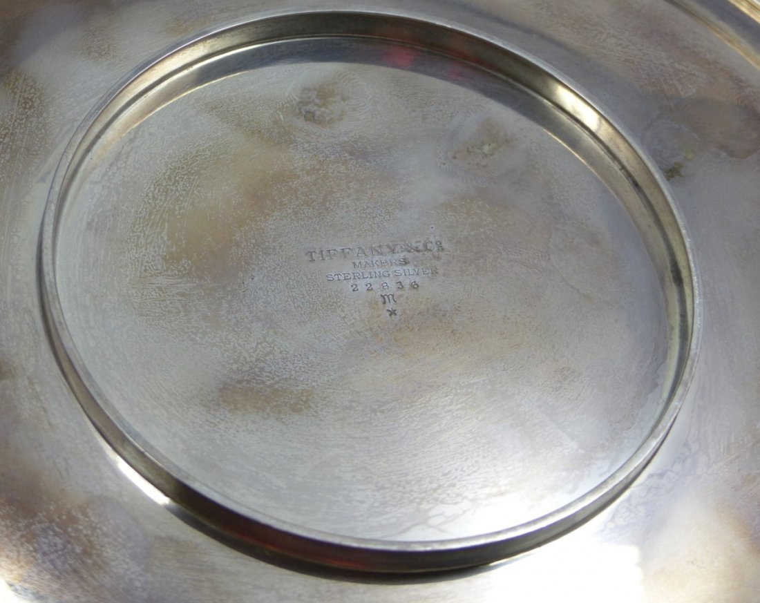 TIFFANY & CO STERLING SILVER ROUND HANDLED TRAY - 5