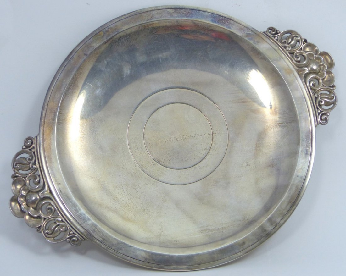 TIFFANY & CO STERLING SILVER ROUND HANDLED TRAY - 7