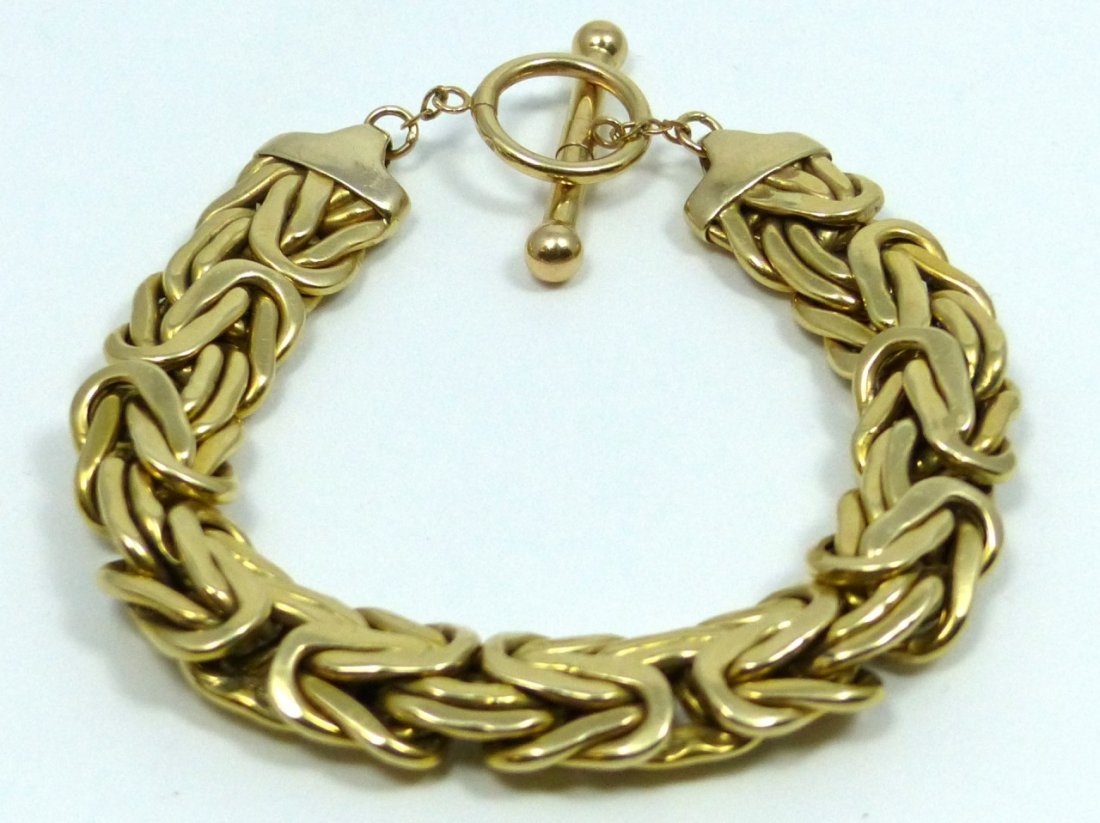 14KT YELLOW GOLD BYZANTINE BRACELET - 2