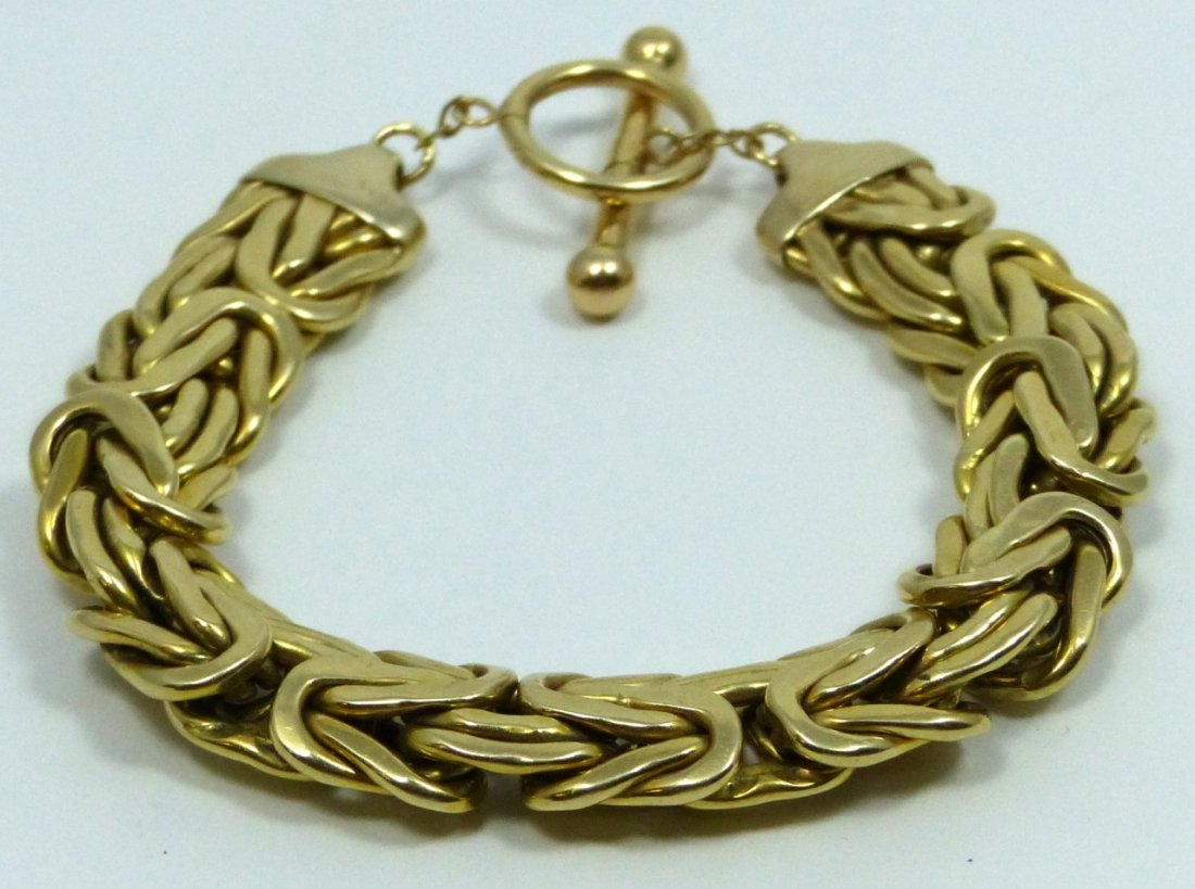 14KT YELLOW GOLD BYZANTINE BRACELET - 3