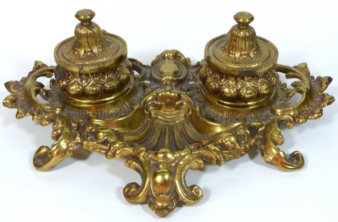 BRONZE ORNATE DOUBLE INK WELL