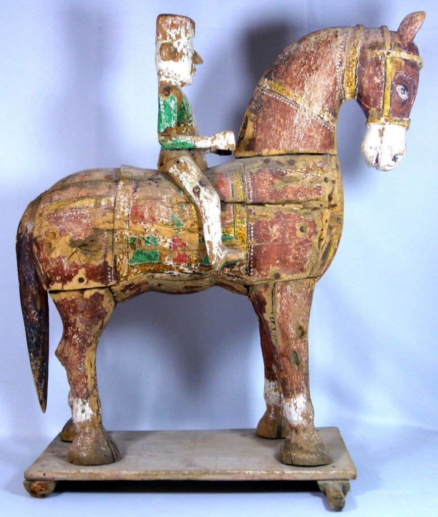 LARGE CHINESE POLYCHROME CARVED TANG HORSE