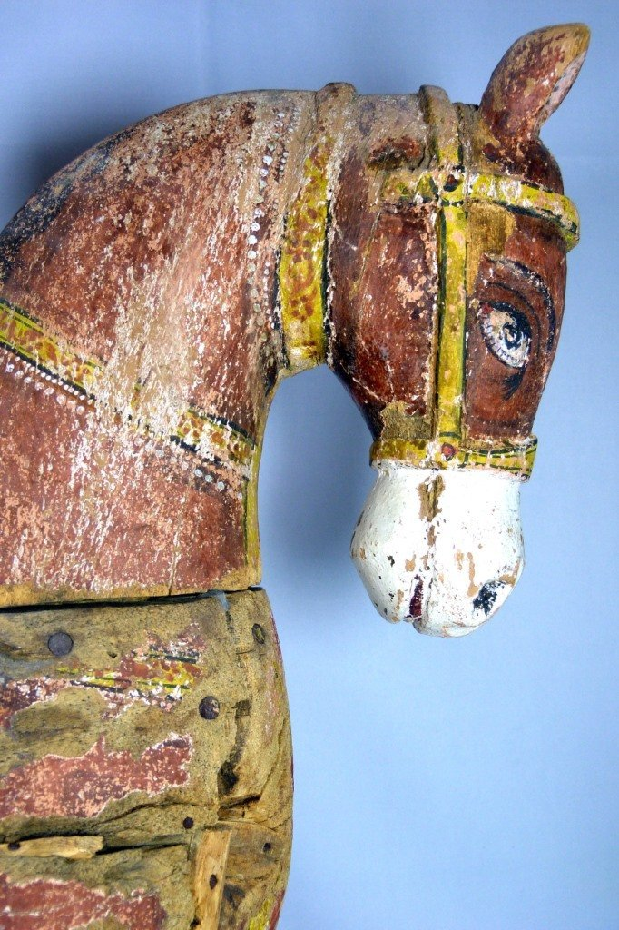 LARGE CHINESE POLYCHROME CARVED TANG HORSE - 3