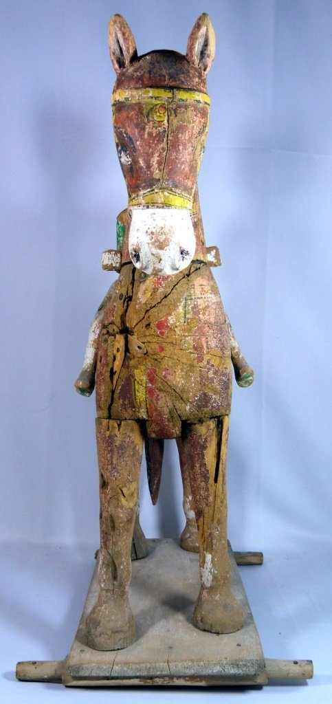 LARGE CHINESE POLYCHROME CARVED TANG HORSE - 4