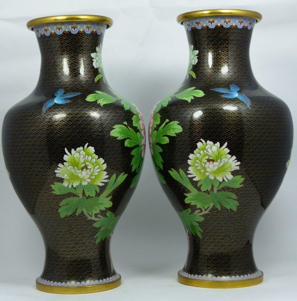 PAIR CHINESE CLOISONNE BLACK ENAMEL VASES - 6