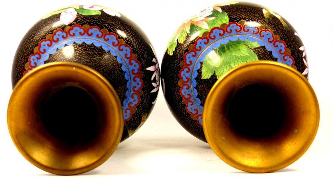 PAIR CHINESE CLOISONNE BLACK ENAMEL VASES - 7