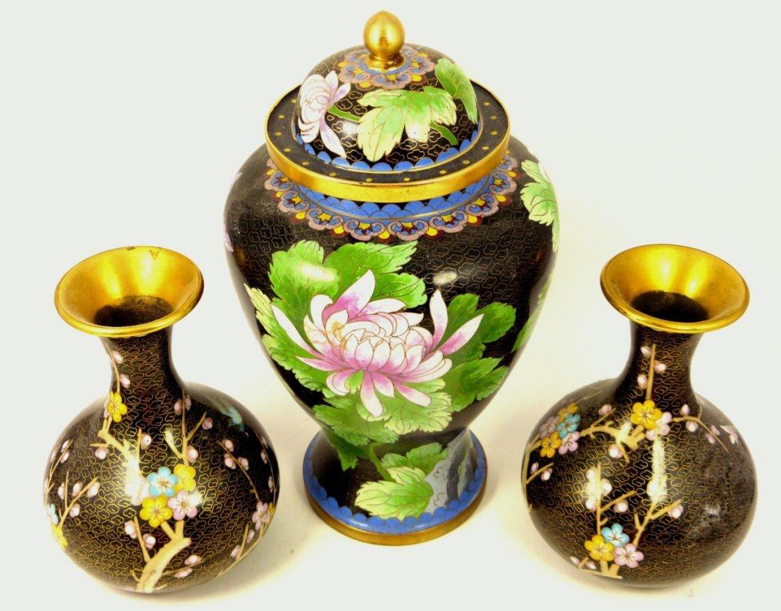 3pc CHINESE ENAMELED GINGER JAR w VASES - 10