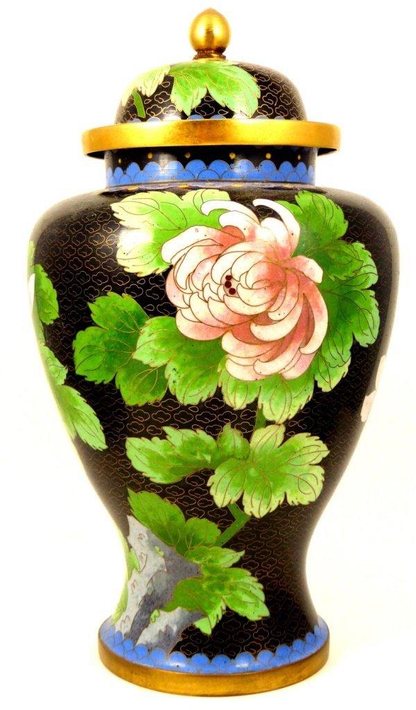 3pc CHINESE ENAMELED GINGER JAR w VASES - 5
