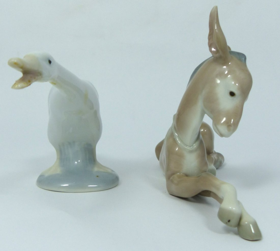 2pc LLADRO PORCELAIN ANIMAL FIGURINES - 2