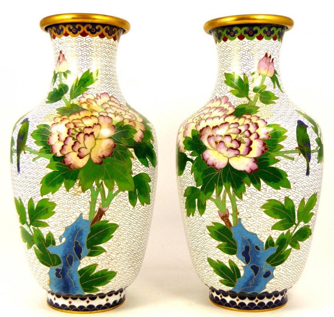 PAIR CHINESE CLOISONNE WHITE ENAMEL VASES