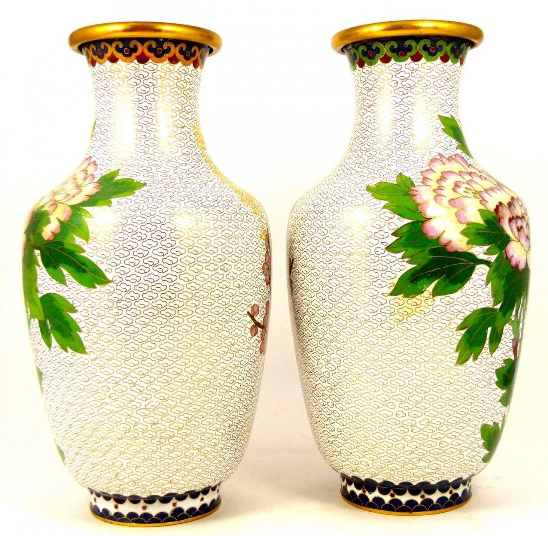 PAIR CHINESE CLOISONNE WHITE ENAMEL VASES - 2
