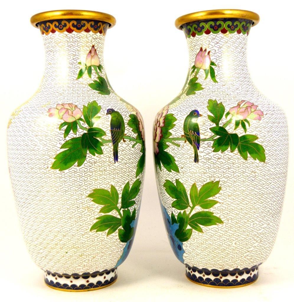 PAIR CHINESE CLOISONNE WHITE ENAMEL VASES - 4