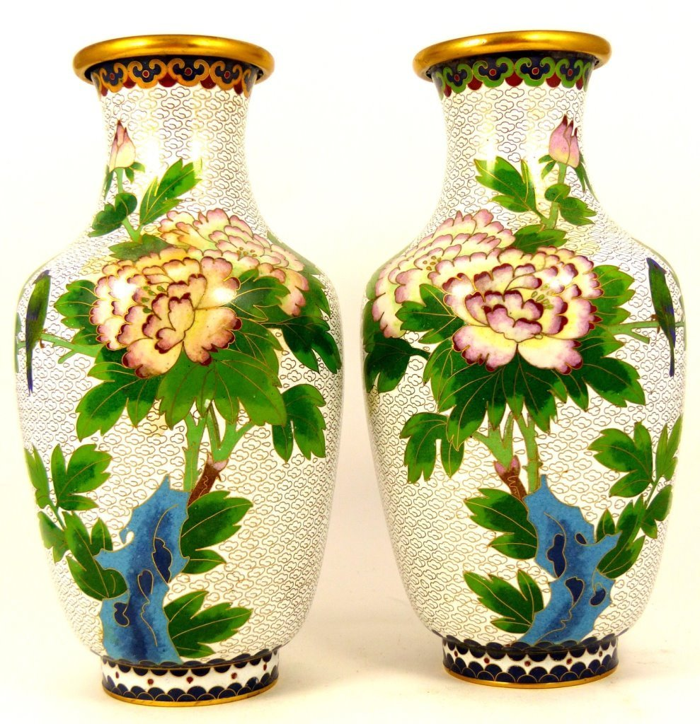 PAIR CHINESE CLOISONNE WHITE ENAMEL VASES - 5