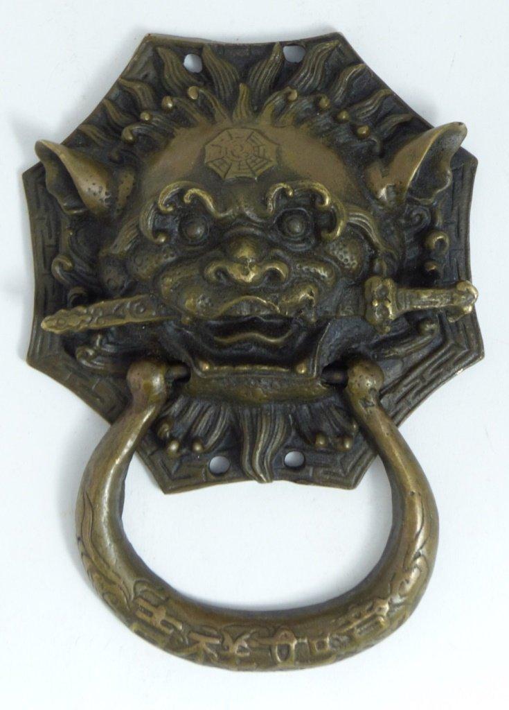 CHINESE BRONZE FOO LION DOOR KNOCKER
