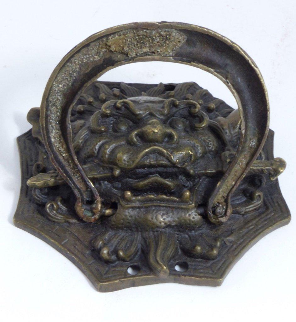 CHINESE BRONZE FOO LION DOOR KNOCKER - 3