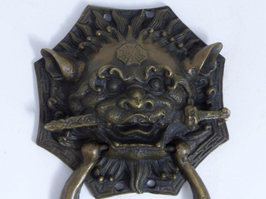 CHINESE BRONZE FOO LION DOOR KNOCKER - 8