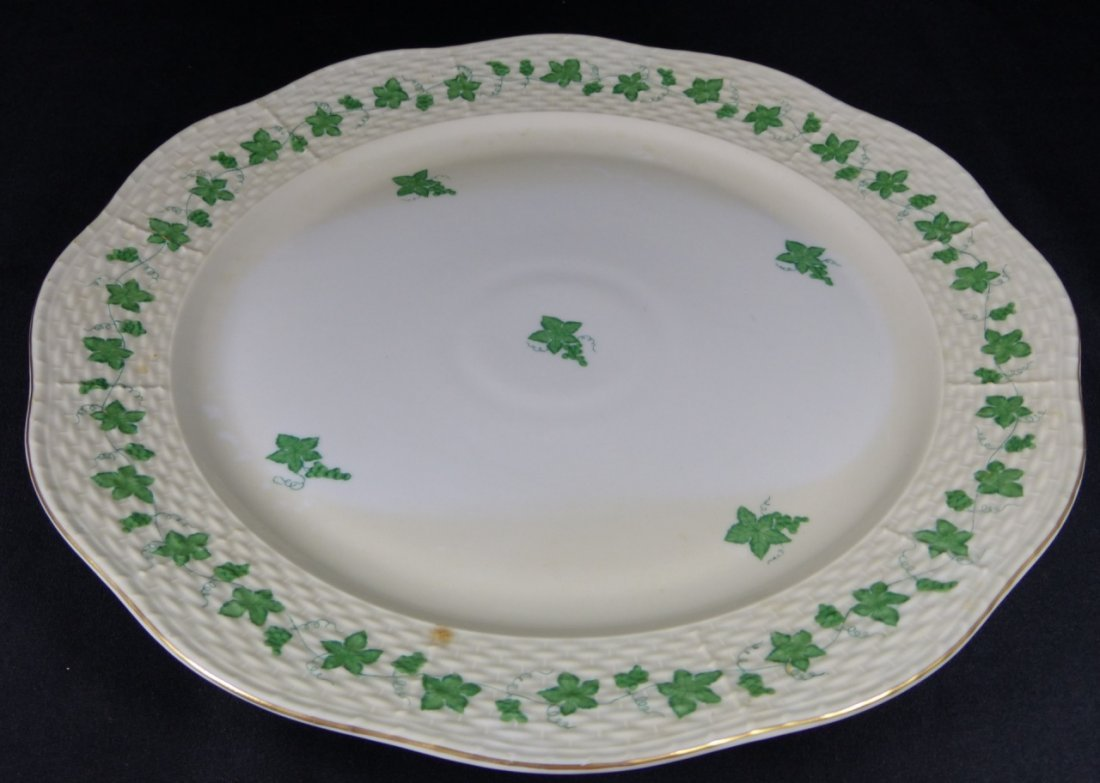 HEREND CHINESE BOUQUET GREEN PORCELAIN PLATTER
