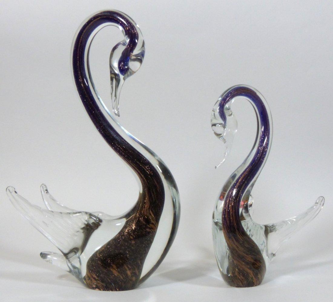 MURANO ITALIAN GLASS SWAN SCULPTURES