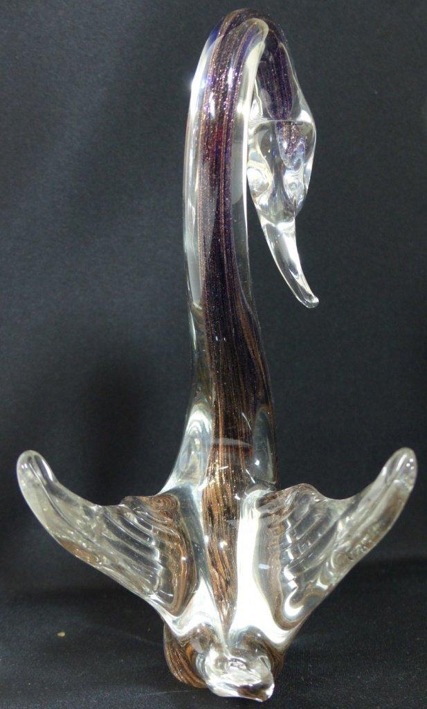 MURANO ITALIAN GLASS SWAN SCULPTURES - 4
