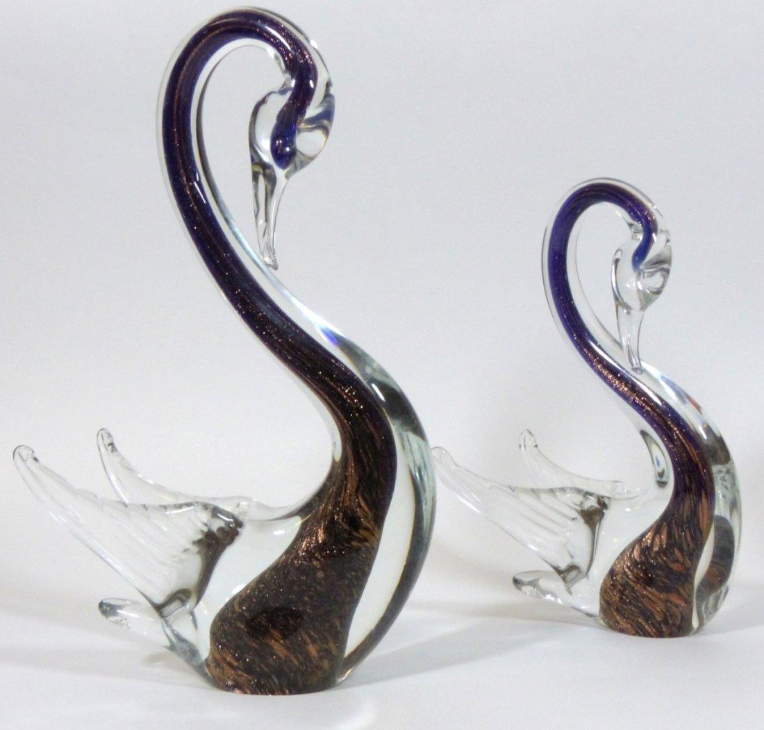 MURANO ITALIAN GLASS SWAN SCULPTURES - 5