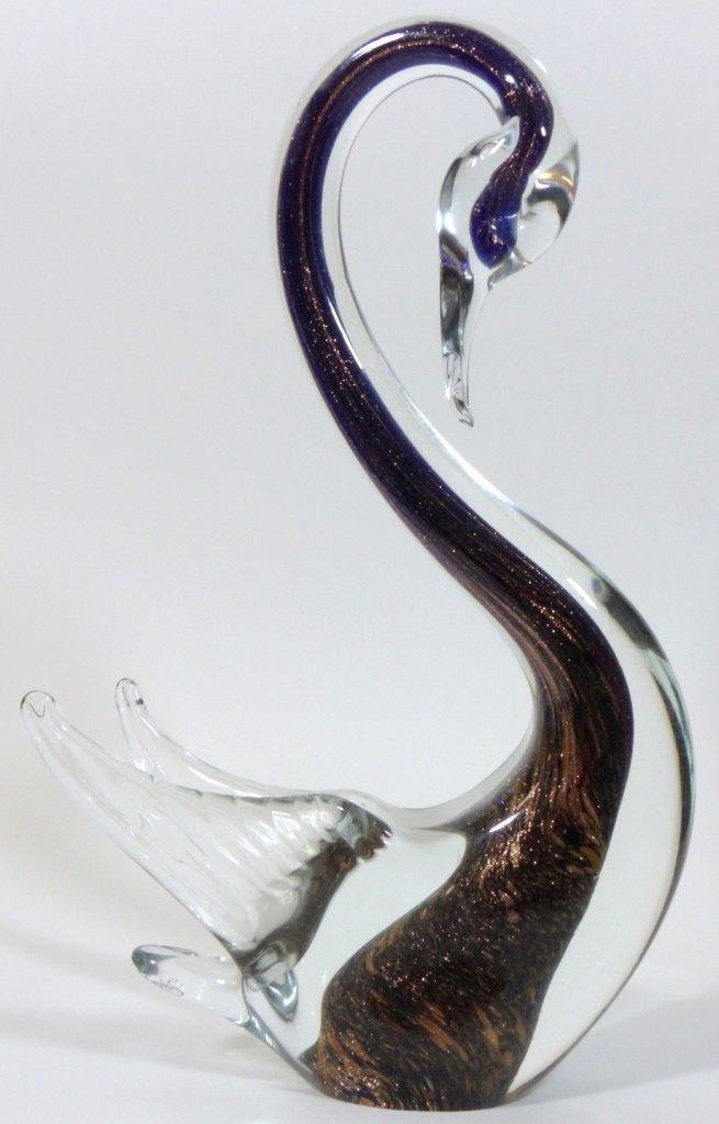MURANO ITALIAN GLASS SWAN SCULPTURES - 7