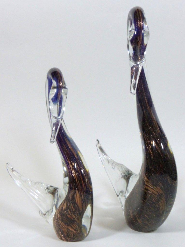 MURANO ITALIAN GLASS SWAN SCULPTURES - 8