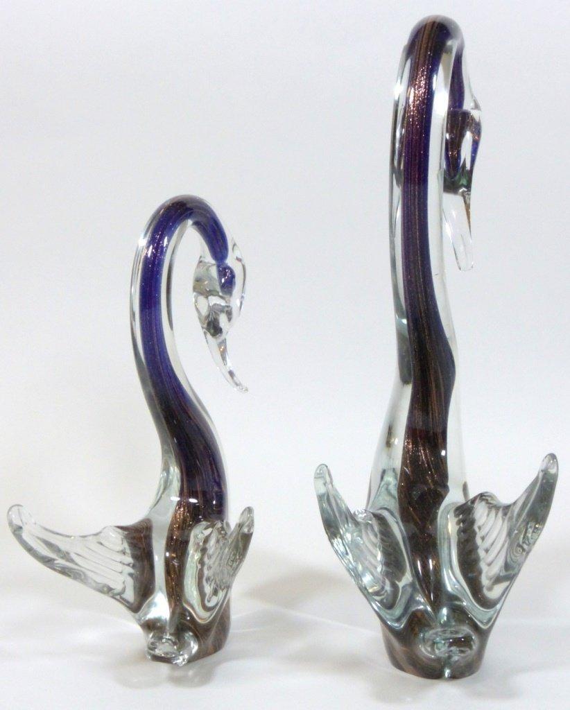 MURANO ITALIAN GLASS SWAN SCULPTURES - 9