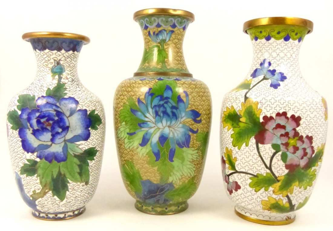 3pc CHINESE CLOISONNE VASES
