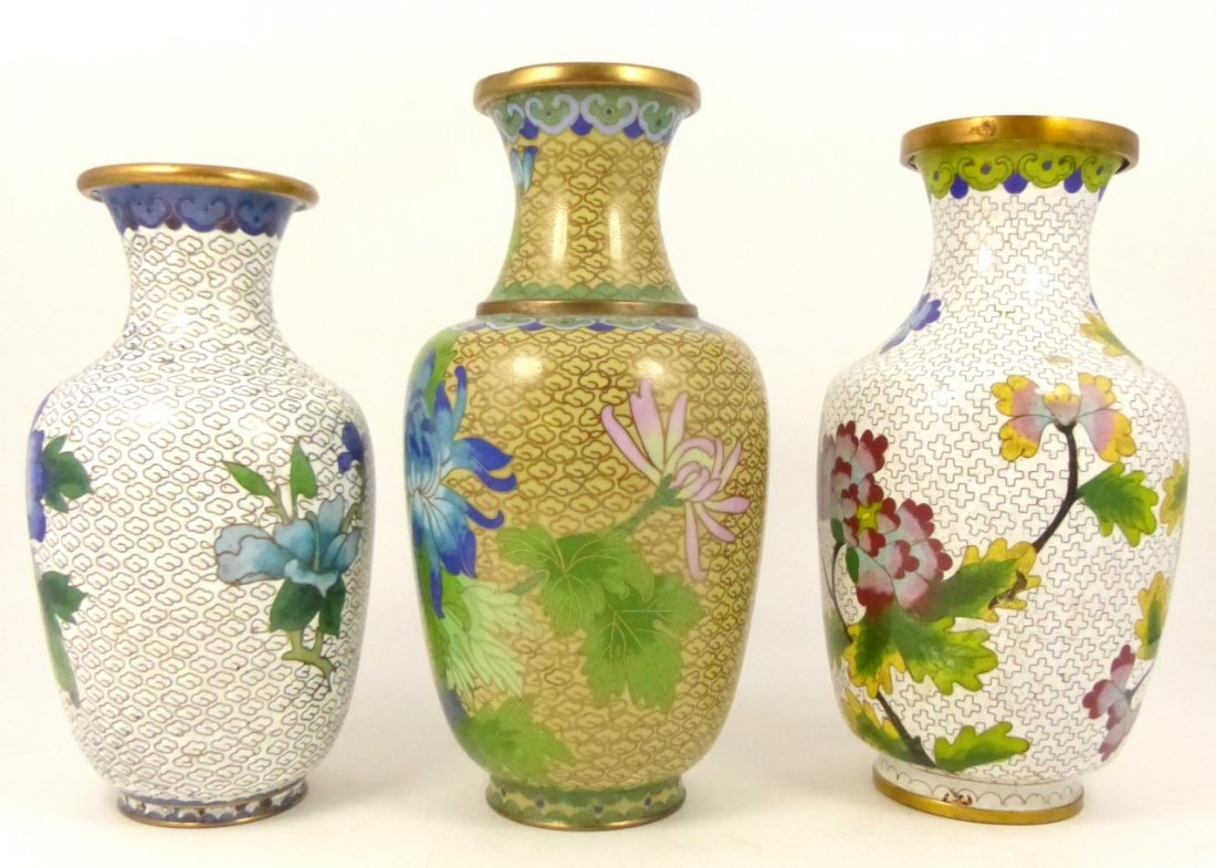 3pc CHINESE CLOISONNE VASES - 2