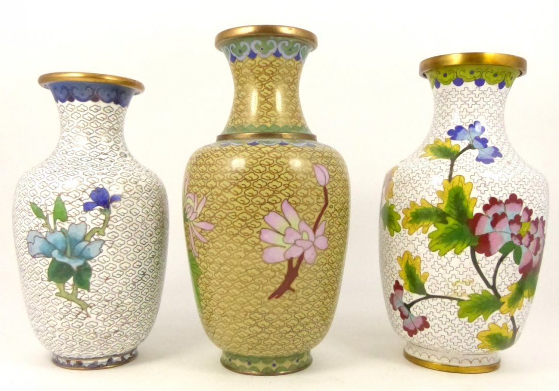 3pc CHINESE CLOISONNE VASES - 3