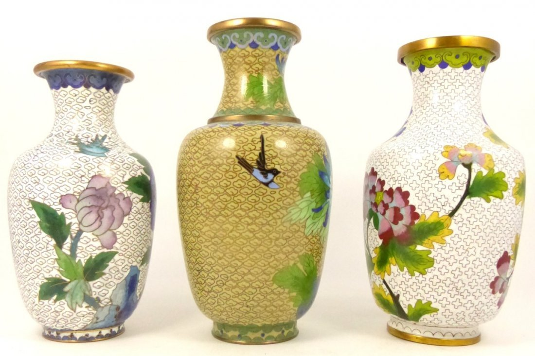 3pc CHINESE CLOISONNE VASES - 4