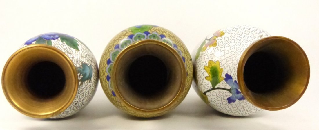 3pc CHINESE CLOISONNE VASES - 6