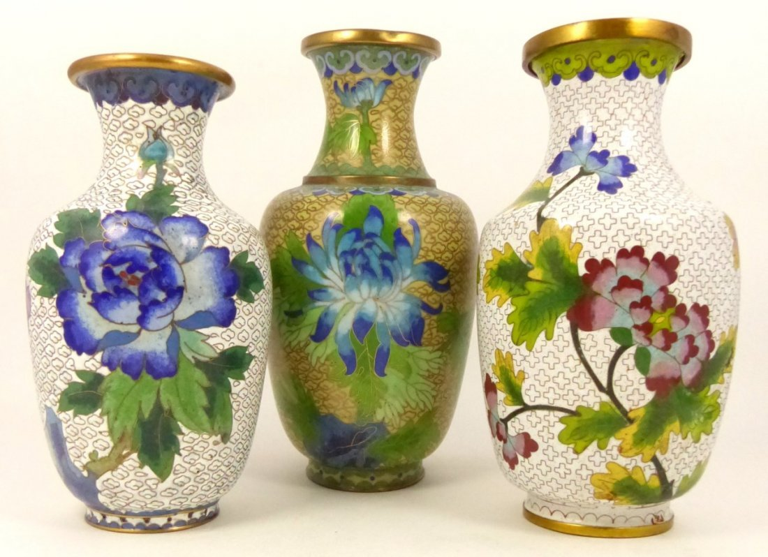 3pc CHINESE CLOISONNE VASES - 7