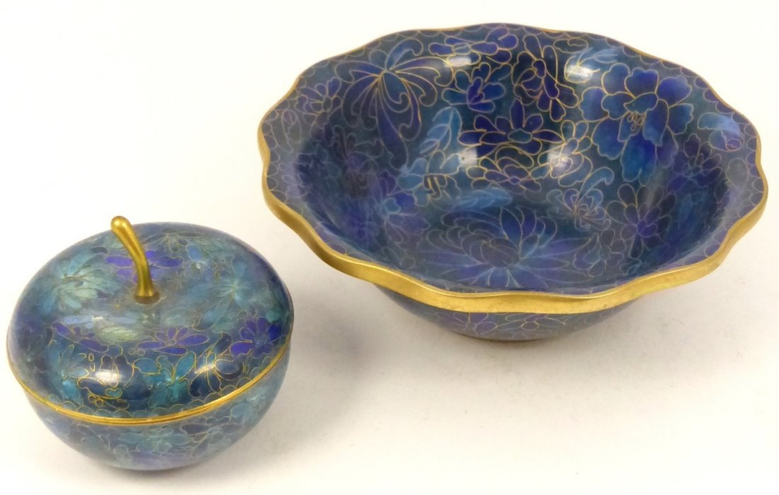 2pc CHINESE CLOISONNE BOX AND BOWL