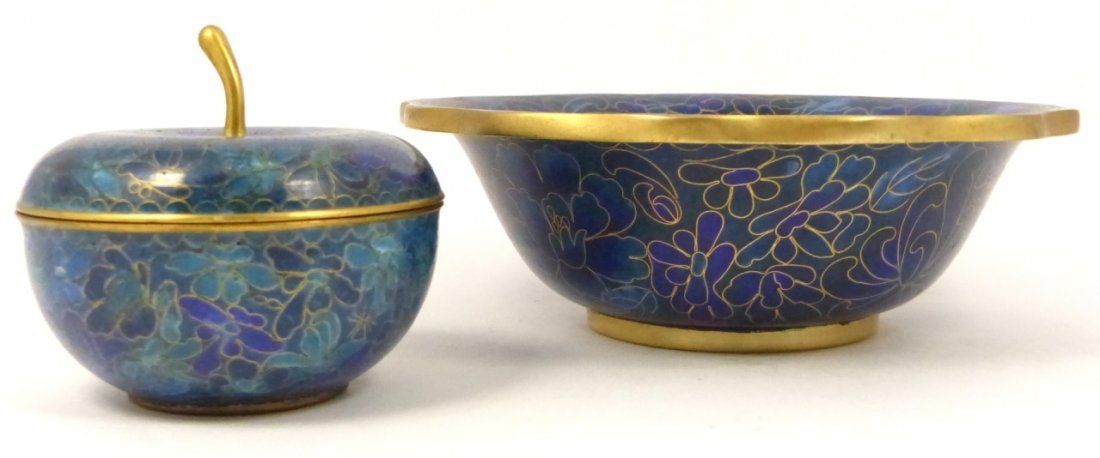 2pc CHINESE CLOISONNE BOX AND BOWL - 2